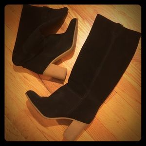 Gorgeous black suede knee high boots made in Spain